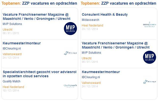 voorbeeld Topbaan op index zzpvacaturemarkt.nl